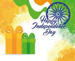 bonne fête de l'indépendance indienne avec décoration de roue ashoka et coffrets cadeaux