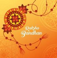 carte de voeux avec rakhi décoratif pour raksha bandhan vecteur