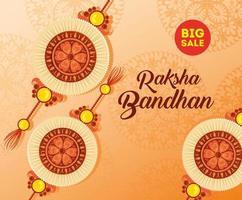 carte de voeux avec ensemble décoratif de rakhi pour raksha bandhan vecteur