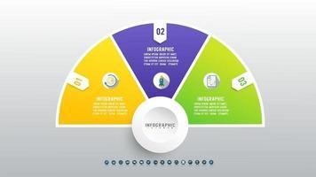 conception infographique de la chronologie avec des icônes 3 étapes. vecteur