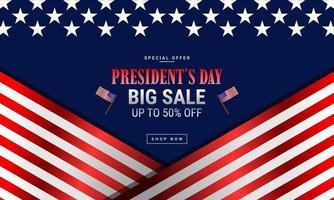 bannière de vente de la fête du président vecteur