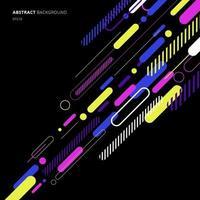 éléments abstraits motif diagonal de ligne arrondie dynamique coloré sur fond noir. vecteur