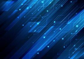 rayures diagonales bleues abstraites et circuit sur fond bleu foncé technologie concept futuriste numérique. vecteur