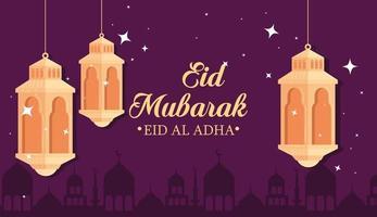 célébration eid al adha mubarak avec des lanternes suspendues vecteur