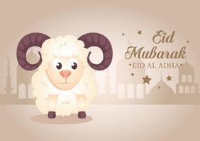célébration eid al adha mubarak avec des moutons vecteur