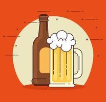 célébration de la journée internationale de la bière avec une bouteille de bière et une tasse sur fond rouge