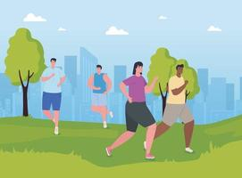 hommes marathoniens interracial courant à l'extérieur