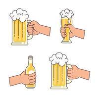 collection de mains tenant des icônes de bière