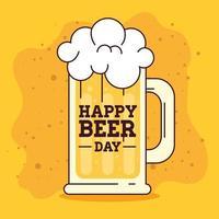 célébration de la journée internationale de la bière avec chope de bière vecteur