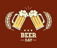 célébration de la journée internationale de la bière avec chopes à bière vecteur
