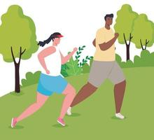 marathoniens interraciaux courant à l'extérieur