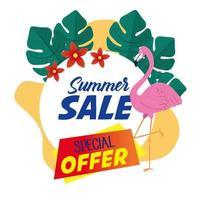 bannière de vente d'été avec flamant rose