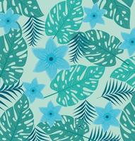 fond tropical avec des fleurs bleues et des feuilles vertes