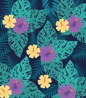 fond de feuillage tropical avec des feuilles vertes et des fleurs