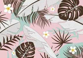 illustration vectorielle de feuilles tropicales fond
