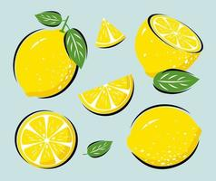 citron jaune avec illustration vectorielle de feuilles