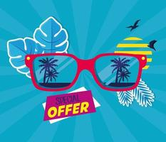 bannière de vente d'été avec des lunettes de soleil vecteur