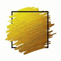 brosse en or avec cadre de ligne sur illustration vectorielle fond blanc