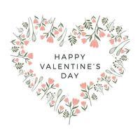 coeur cadre floral joyeux saint valentin. conception de cartes de la Saint-Valentin. cadre en forme de coeur, verdure de la forêt fraîche, plantes, fleurs, branches. vecteur