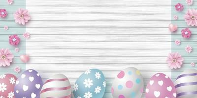 conception de jour de Pâques des oeufs et des fleurs sur illustration vectorielle de bois blanc texture fond