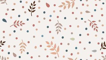 motif floral avec des feuilles et des points dans un style enfantin minimal