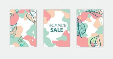 ensemble de dessins de fond floral abstrait pour les vacances d'été avec des feuilles vecteur