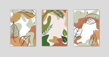 ensemble de conception de fond floral automne. éléments graphiques abstraits de forme organique.
