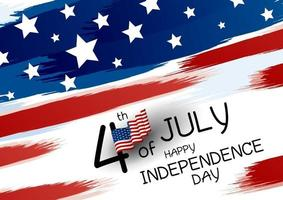 4 juillet bannière de conception joyeux jour de l'indépendance du drapeau américain et pinceau sur illustration vectorielle fond blanc
