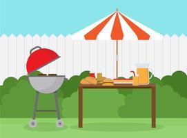 Barbecue de jardin vecteur