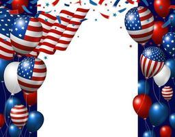 Usa 4 juillet conception de bannière de fête de l'indépendance du drapeau américain et ballon avec illustration vectorielle espace copie