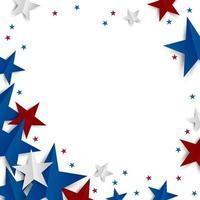 étoile de papier sur fond blanc avec copie espace fête de l'indépendance et illustration vectorielle de vacances bannière