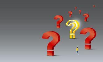 Conception de concept de résolution de problèmes de personnes avec ampoule à la recherche de point d'interrogation jaune sur fond gris vector illustration 3d