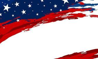 bannière de pinceau drapeau usa sur illustration vectorielle fond blanc