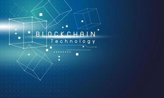 conception de la technologie blockchain sur illustration vectorielle fond bleu vecteur