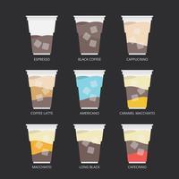 Illustration de café glacé. Recette de café. vecteur