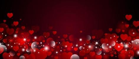 conception de fond de la Saint-Valentin de coeurs rouges avec illustration vectorielle de lumière bokeh