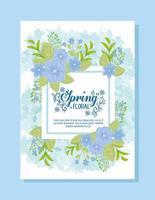 joli modèle de carte de printemps floral avec des fleurs