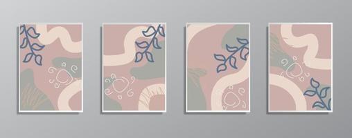 ensemble d'illustrations de couleur neutre vintage dessinés à la main minimaliste créatif, pour mur