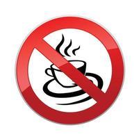 les boissons chaudes ne sont pas autorisées. aucune icône de tasse de café. signe de forme ronde interdiction rouge vecteur