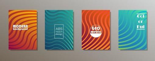 conception de couvertures minimalistes colorées. dégradés de motifs géométriques minimaux vecteur