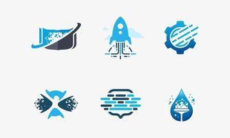 ensemble d'icônes technologiques, y compris le livre de pixels, la technologie rapide et les engrenages de pixel