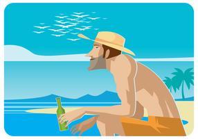 Se détendre sur le vecteur de la plage