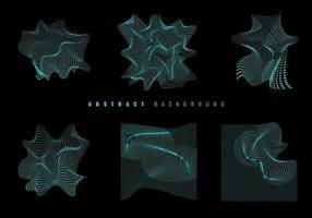 ensemble de particules ondulées rougeoyantes bleues. texture et fond filaire moderne. vecteur