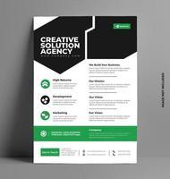 modèle de mise en page de flyer vert au format A4. vecteur