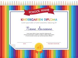 Modèle de diplôme de jardin d'enfants vecteur