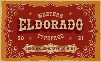 une police serif vintage dans le style occidental. cette police convient mieux aux phrases courtes, aux titres et peut être utilisée pour de nombreux produits créatifs, tels que des imprimés de chemises, des étiquettes d'alcool et de nombreuses autres utilisations vecteur
