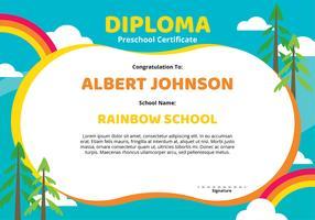 Modèle de certificat de diplôme préscolaire vecteur