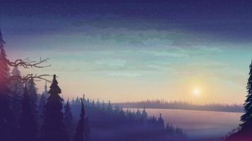 paysage avec grand lac et forêt de pins à l'horizon. coucher de soleil en forêt avec ciel étoilé