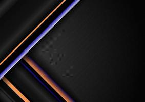 Motif de lignes géométriques diagonales rayures abstraites bleu et jaune sur fond noir vecteur
