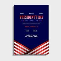 conception de modèle de jour des présidents vecteur